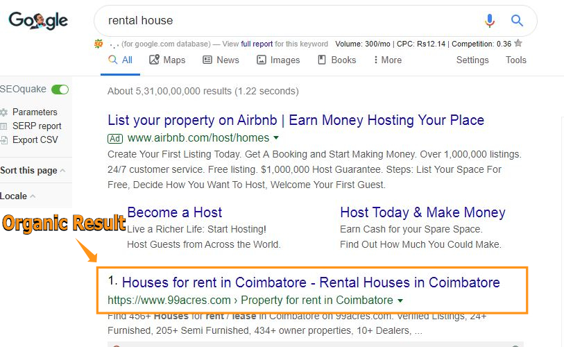The organic result is a natural result that ranks on the search engine without getting paid